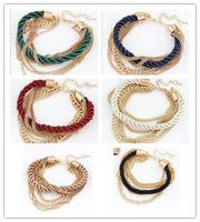 mode armbänder frau großhandel-Frauen-Armband-Webart-Ketten-Art- und Weisemädchen-Frauen-Zusatz 2015 Dame Party Dress Bracelets Chain 6 Farben D5860