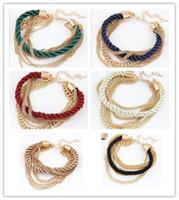 Wholesale Charm Lady Ring - Woman Bracelet Weave Chains Fashion Girls Women Accessory 2015 Lady Party Dress Bracelets Chain 6 Colors D5860
