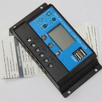 cargadores de control al por mayor-30A 12V / 24V Regulador del Panel Solar Regulador de Carga de la Batería Controlador Solar del panel Solar Cargador Dual USB NUEVO Envío Gratis