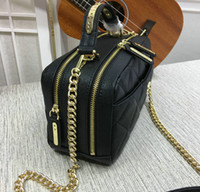 Wholesale Cotton Camera Bag - 24CM Black Caviar Leather Camera Bag With Handle Women's Fashion Genuine Leather Boston Shoulder Bag 18CM Crossbody Bags