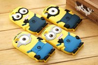 Wholesale Cover S4 Minions - 2016 New 3D Silicone Cute Minions Case Soft Cartoon Back Cover for iphone 6S Samsang S4 S3