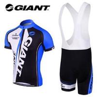 ingrosso abbigliamento gigante blu della bici-Nuova GIANT Abbigliamento da ciclismo blu Jersey Abbigliamento bici da bici con salopette / calzoncini Taglia: S ~ XXXL