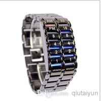 100pcs mode chaud / lot Livraison gratuite spéciale Fer Samurai Prix Lava Blue Style Light Metal Binary LED Watch WY309
