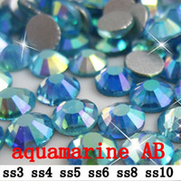 Wholesale Cut Aquamarine - free shipping 1440pcs   lot aquamarine AB ss3 - ss10(1.2-2.9mm) crystal glass Rhinestone flatback rhinestones silver foiled