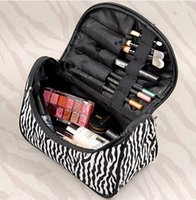 Wholesale Zebra Cosmetic - Lady Cosmetic Nail Art Tool Bag Makeup Case Toiletry Holder Storage organizer Zebra Stripe Portable cosmetic bag Storage bag Free Shipping
