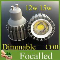 lámparas de alto brillo led e27 al por mayor-Free FedEx High Brightness Cob Led Proyector de luz Spot Gu10 E27 Mr16 12w 15w Led Bombilla de lámparas de iluminación cálido / frío blanco CRI 85 110V 220V 12V