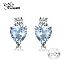Wholesale Natural Aquamarine 925 - JewelryPalace Heart Love 1ct Natural Aquamarine White Topaz Post Stud Earrings For Women 925 Sterling Silver Brand Jewelry 2017