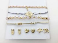 FASHION MULTI ROW BRACELETS TRIO EARRING SET ROSA GRAMAS DE VIDRO CHAIN ​​THREAD BRAID BRACELEARROW EVIL EYE CHARM BRACELET LOVE OWL BIRD STUD