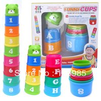 Wholesale-1set cup stacking early learning Bébé éducatif stacking nesting toy Tasses pli empilées Pagoda Figures Lettres livre bateau
