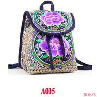 Wholesale Handmade Schoolbag - National trend canvas embroidery Ethnic backpack women handmade flower Embroidered Bag Travel Bags schoolbag backpacks mochila A005