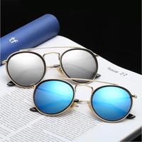 Wholesale Wholesale Half Shaded Sunglasses - Popular Brand Round Designer Sunglasses for Men and Women Outdoor Sport Glass Lenses Sunglasses Sun Shades Sunglasses Women Glasses 11colors