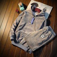 mens rahat kıyafetler ücretsiz gönderim toptan satış-Yeni en çok satan Kış Erkekler Spor Kalınlaşmak Hoodies Eşofman Erkek Casual Spor Takım Elbise Kapşonlu Giyim Ücretsiz kargo