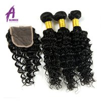 Wholesale Brazilian Full Lace Wigs Wholesale - 7A Brazilian Deep Wave With Closure Human Hair Weave 3 Bundles With Closure Tissage Cheveux Lace Closure With Bundles