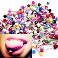 Wholesale Tounge Bar - 30 60 100pcs Lot Fashion 316L Surgical Steel Mixed Colors Tounge Rings Bars Barbell Tongue Piercing Body Jewelry Tongue Pin