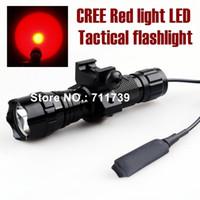 Wholesale Led Torch Tactical Usa - USA EU Hot Sel WF-501B Torch 1-Mode Cree Q5 Red light LED Flashlight Tactical light with +tactical mounts Remote switch