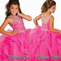 Wholesale Stunning Pageant Dresses Little Girls - Stunning Crystal Girls Pageant Dresses with Beaded Halter Organza Ruffles Floor Length Pink Party Prom Gowns Glitz Little Flower Girls Dress