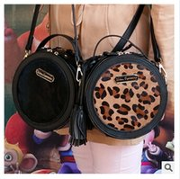 Wholesale Leopard Gift Bags - Leopard Round Crossbody Bag Top Quality Horse Fur Bags Tassel PU Leather Leopard Mini Small Fringed Round Bags Mini Bags Christmas Gifts 951