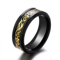 Wholesale China Carbon Fiber - Brand New Black 316L Titanium Stainless steel Ring Wedding Band blue Carbon Fiber des Nibelungen Dragon rings for men fast free shipping