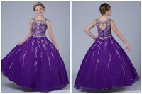 Wholesale Kids Dresses Cheap Prices - Long Purple Girls Pageant Dresses 2017 Ball Gown Floor Length Shiny Beaded Top Sexy Open Back Crew Collar Cheap Price Elegant Kids Dress