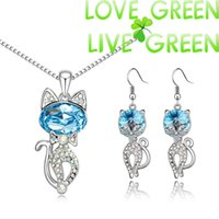 Wholesale wholesales K Platinum Plated Austrian Crystal CAT Pendant Necklace Earrings fashion Jewelry Sets
