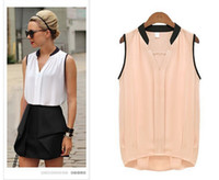 Wholesale Cheap Pink Blouses - Blusas Femininas 2015 Summer Women Casual OL Chiffon Blouses Solid Sleeveless Shirts Women Tops Cheap Clothes Plus Size