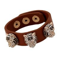 Wholesale Leopard Head Rhinestone - Punk leather bracelets Fashion Refinement Mosaic Rhinestone Alloy Leopard head Decorative Snap button design Charm bracelets Wrist Jewelry