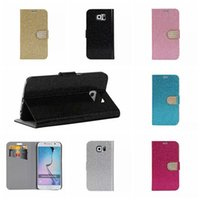 Wholesale Diamond Glitter Sparkling Leather - SVI Glitter Sparkle Bling Bling Diamond Rhinestone Wallet Stand Leather Case for Samsung Galaxy S6 G9200 G9250 Edge with Credit ID Card Slot