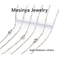 Wholesale Locket Station - 316L stainless steel ball station 20'' chain necklace for floating charm glass locket essential oils diffuser locket necklace