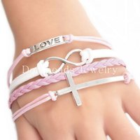 Constatations Wax Rope Tressage Bracelets Rose White Cross Infinity Symbol