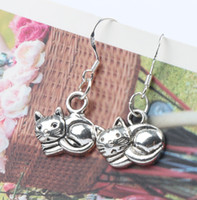 Wholesale Wholesale Cat China - Lying Cat Earrings 925 Silver Fish Ear Hook 40pairs lot Dangle 14x30 mm Fashion Jewelry E1153