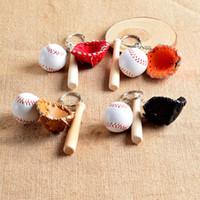 bats cars 2018 - Popular Hot Cute Mini Three-piece Baseball Glove Wooden Bat Keychain Sports Car Key Chain Key Ring For Man Women Jewelry Gifts