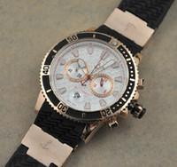 Wholesale Maxi Diver - 2016 brandswatch9u suggest Maxi Rose Gold Blue Rubber Men's Chronograph Date Watch Diver Mens Sport WristWatches