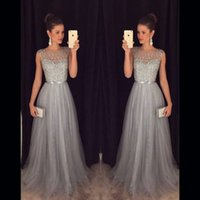 Wholesale sexy party dresses china resale online - 2018 Gray Long Evening Dresses Beaded Tulle Sequin A line Long Formal Party Dress Gowns vestidos de baile buy direct from china