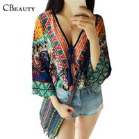 Wholesale Tribal Cardigans - Ethnic Retro Vintage Kimono Cardigan Ladies Tribal Women V-Neck Summer Blouse Femininas 2016 Chemise Femme