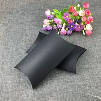 Wholesale Toy Carry Case - 50PCS Lot 18*10*3cm Kraft Paper Black Pillow Shape Box Jewelry Displays Package Carry Case For Candy Toy Gift Accept Custom Logo