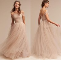 Wholesale Nude Tulle Wedding Dress - Vintage Nude 2017 BHLDN Wedding Dresses Off The Shoulder Delicate Sash Bridal Gowns Floor Length A Line Boho Tulle Wedding Gowns