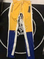 Wholesale Novelty Ribbons - 2018 Best version justin bieber FEAR OF GOD FOG Vertical stripes splice men Side zipper jogger pants hip hop Fashion Casual pants 3 Color