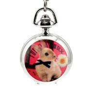 Wholesale Rabbit Watch Pendant - Fashion quartz Unique design rabbit White steel silver enamel Children's cartoon pendant Necklace chain pocket watches