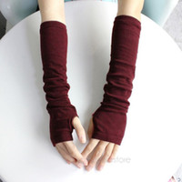 Wholesale Knitted Long Gloves - Wholesale-Warm knit wool fingerless gloves ladies winter knitted half finger cuff gloves women winter long mittens unisex #6