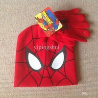 Wholesale Linda Gift - Wholesale-LINDA 2015 New children's spideman spiderman cotton hats and gloves 2 sets for 2-8 years old boys and girls gifts MY329