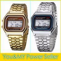 Wholesale Led Watch Metal - Wholesale F-91W Metal Watch Electronic Watches LED Watch Ultra-Thin Wrist Watch Gold Silver Wristband Led Sports Watches Free Ship
