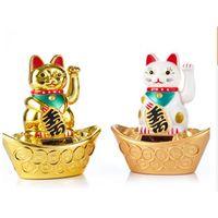 Wholesale Solar Power Lucky Cat - Solar Powered 5.3 inch Maneki Neko Art Welcoming Lucky Beckoning Fortune Ingot Cat Home Decor