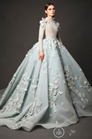 Wholesale Gowns Feathers Designs - Luxury 2016 Design Evening Dresses Long Sleeves Puffy Satin Appliques Artificial flowers Formal Women Gowns Chapel Train Evening Gowns