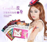 Wholesale Wholesale Tattoos Horror Temporary - Mix 10pcs lot Embarrass Props Fake Scars Wounds Simulation Horror Bloody Halloween Dress Up Tattoos Sticker Body Art Temporary Tattoos