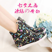 Wholesale Korean High Tops Sneakers - 2015 spring and autumn women's new high-top shoes increased stealth graffiti shoes   Korean tide sneakers (35-39)