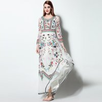 Wholesale Noble Embroidery - High Quality New 2017 Designer Runway Maxi Dress Women's Long sleeve Stunning Gauze Retro Noble Floral Embroidery Long Dress