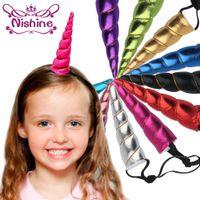 Wholesale Horns Costume - Nishine Unicorn Horns Hairband Costume Headdress Colorful Hair Band Children Hair Accessories Birthday Party Gift