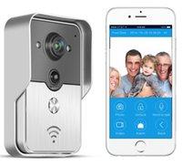 video telefon satışları toptan satış-2015 Sıcak Satış WIFI Video Diyafon Renkli Görüntülü Kapı Telefonu Destek iOS Android App Wilress Video Kapı Zili Interkom Sistemi