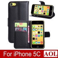 Wholesale iphone 5c flip case cover - Hot selling!!! 6 colors Luxury Flip Wallet PU Leather Case Back Cover with Credit Card Slot KickStand for Apple iphone 5C free shipping