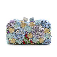 Wholesale Crystal Flower Clutch Purse - Wholesale-Free Shipping National Flower Luxury Crystal Clutch Evening Bag Lady Dinner Party Shoulder Bag Women Wedding Purses L2007
